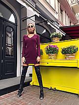 Сукня жіноча ангоровое з чокером AniTi 070, бордовий, фото 3