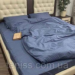 Семейный набор постельного белья из страйп-сатина, 100% хлопок, цвет серый