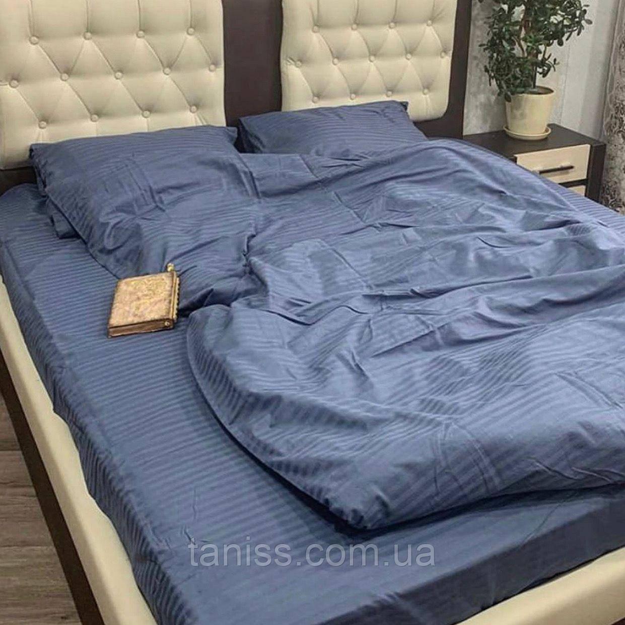 Евро набор постельного белья из страйп-сатина, 100% хлопок, цвет серый
