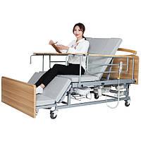 Медичне електроліжко з туалетом і боковим переворотом MIRID Е04. Функціональне ліжко для інваліда. Ліжко для реабілітації.