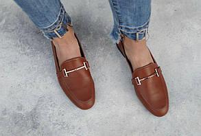 Туфлі лофери жіночі з пряжкою рудого кольору з натуральної Шкіри на низькому каблуці розміри 36-41, фото 3