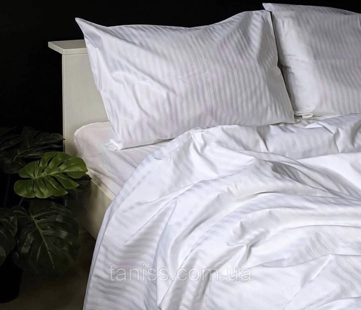 Евро набор постельного белья из страйп-сатина, 100% хлопок, цвет белый