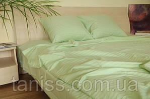Двухспальный набор постельного белья из страйп-сатина, 100% хлопок, цвет светлый салат