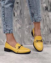 Яркие туфли лоферы из белой натуральной кожи на низком каблуке размеры 36-41, фото 3