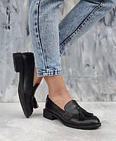Черные кожаные женские туфли лоферы из натуральной кожи на низком каблуке размеры 36-41