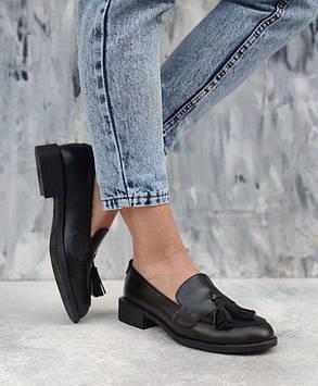 Черные кожаные женские туфли лоферы из натуральной кожи на низком каблуке размеры 36-41, фото 2