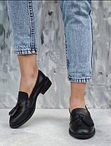 Черные кожаные женские туфли лоферы из натуральной кожи на низком каблуке размеры 36-41, фото 3