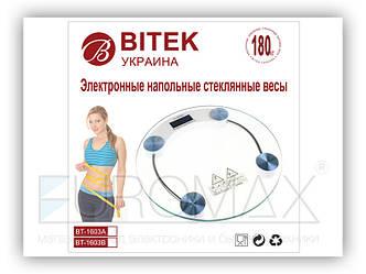 Весы электронные бытовые BITEK 180кг стеклянные круглые 10шт YZ-1603A