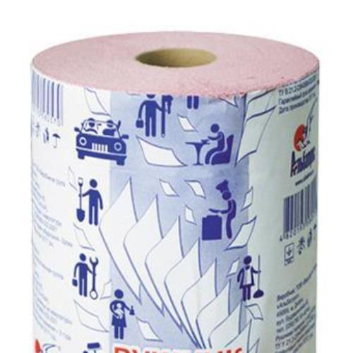 Полотенца бумажные рулонные с тиснением и перфорацией на гильзе d = 45, розовые