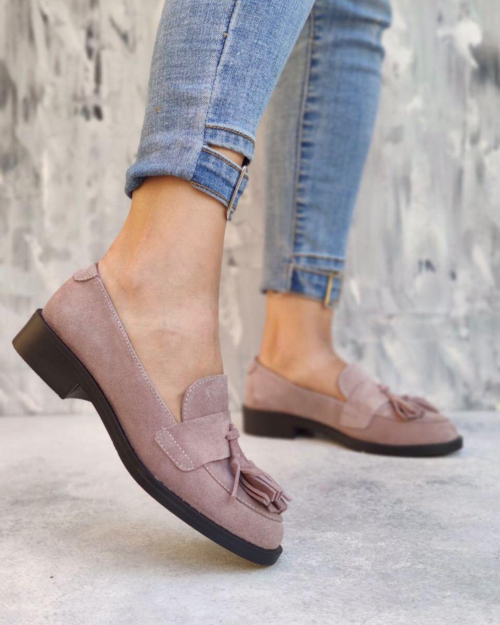 Пудровые кожаные туфли лоферы из натуральной кожи на низком каблуке размеры 36-41