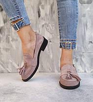 Пудровые кожаные туфли лоферы из натуральной кожи на низком каблуке размеры 36-41, фото 3