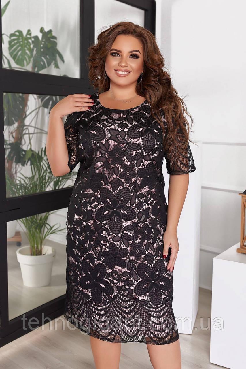 Нарядное летнее платье женское большого размера, размер 54 (50,52,54,56) короткий рукав, гипюр, цвет Черный