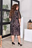 Ошатне літнє плаття жіноче великого розміру, розмір 54 (50,52,54,56) короткий рукав, гіпюр, колір Чорний, фото 3