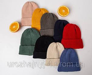 Вязанная шапка однослойная универсальный размер 46-54
