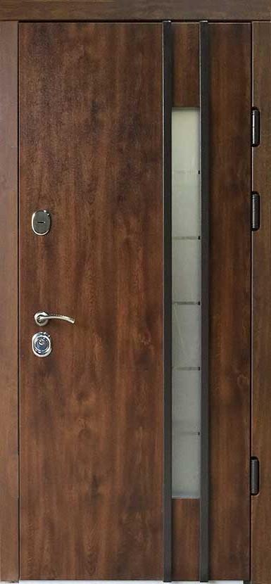 Наружные  металлические входные двери Редфорт  (Redfort) Авеню со стеклом на улицу