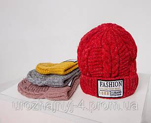 Вязанная однослойная  шапка FASHION р46-52