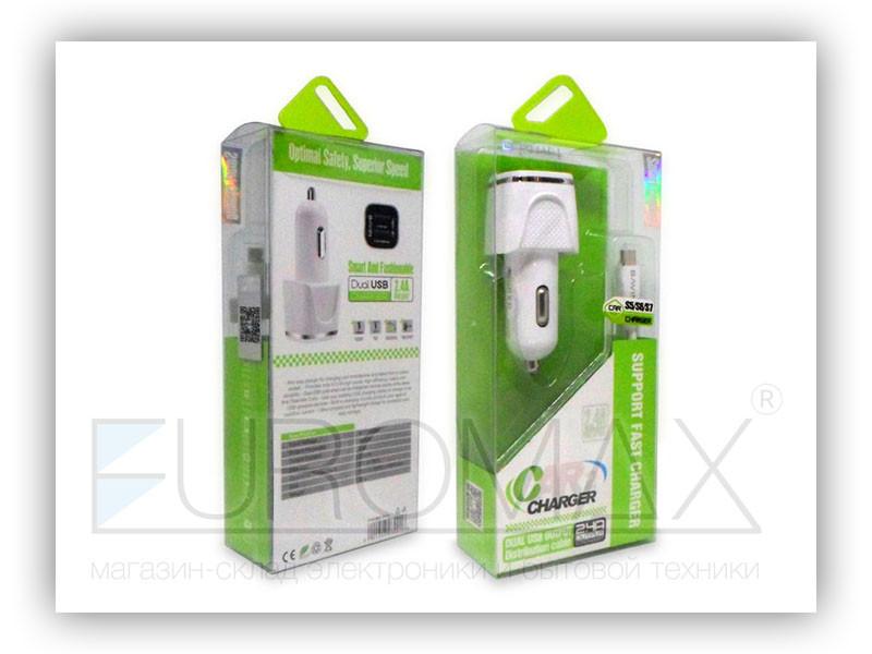 Зарядное устройство 12В 2,4А с кабелем USB - micro USB BAVIN 100шт PC669-V8
