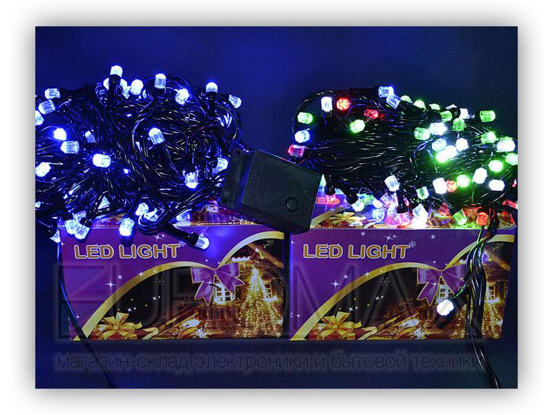 Гирлянда черный провод лампа Рубинка большая 100LED (теплый белый) 80шт LED100WW-8