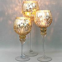 """Изысканные настольные подсвечники из стекла """"Сияние золота""""  30 см, 35 см, 40 см. комплект 3 шт."""