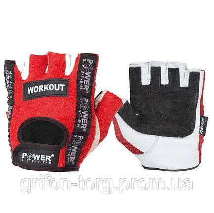 Перчатки для фитнеса и тяжелой атлетики Power System Workout PS-2200 S Red, фото 2