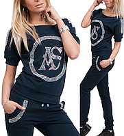 Спортивный костюм женский летний турецкий брендовый со стразами № 8836 синий