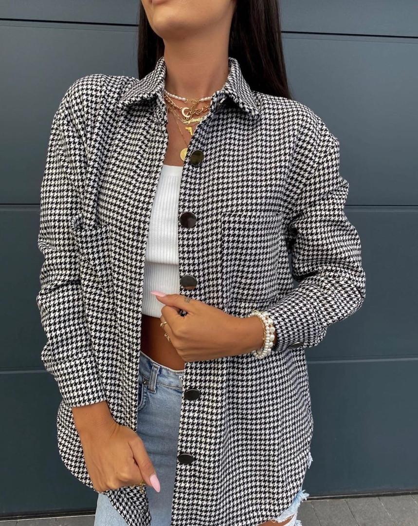 Женская рубашка, французская гусиная лапка, р-р универсальный 42-46; 48-52 (чёрный+белый)