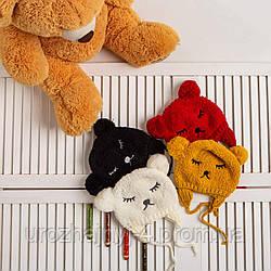 Вязанная шапка однослойная на завязках р46-50