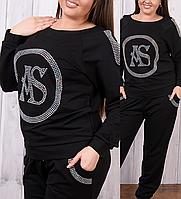 Турецкий женский батальный спортивный костюм со стразами стильный прогулочный №8836 чёрный