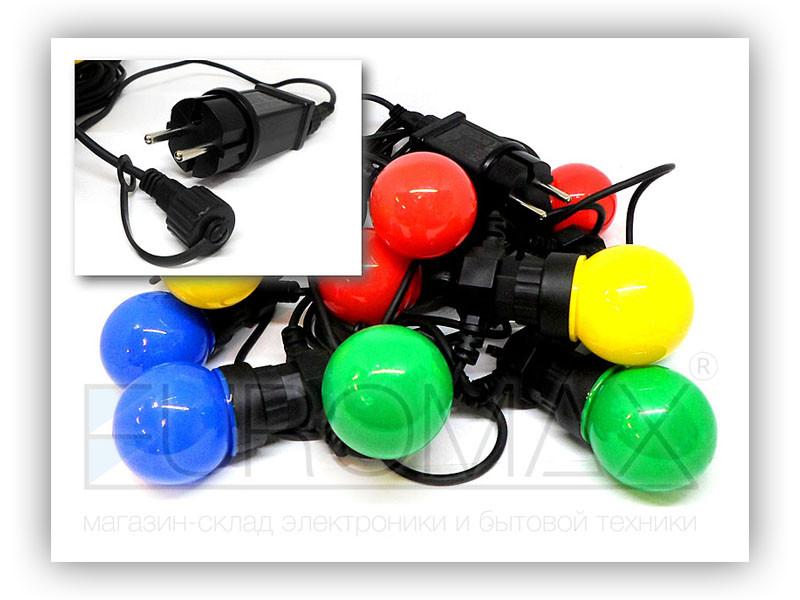 Гирлянда 10 водонепроницаемых цветных шариков 5м (микс) 20шт WATERPROOF-BALL-10M-1
