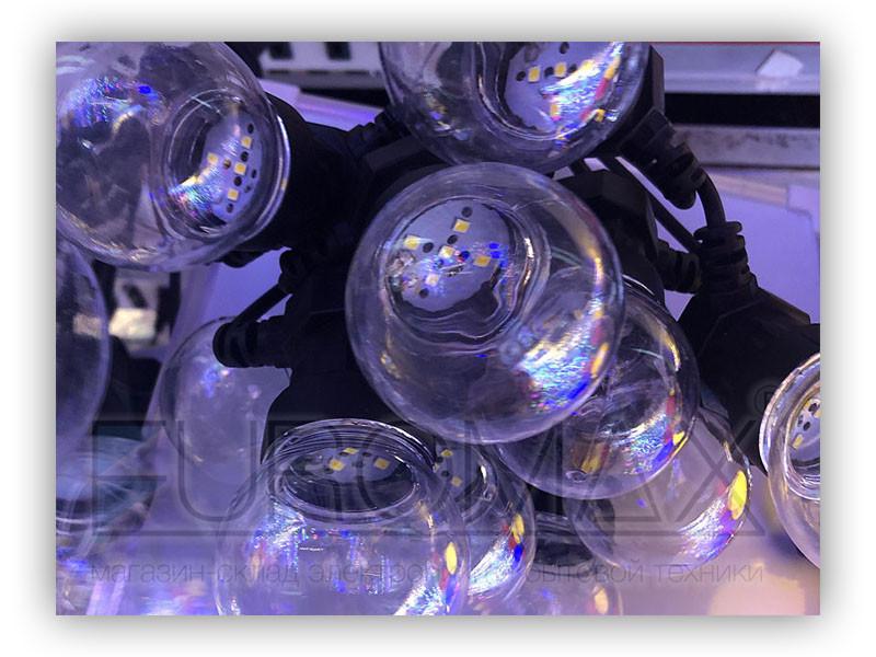 Гирлянда 10 водонепроницаемых прозрачных акриловых шариков 5м (теплый белый) 20шт WATERPROOF-BALL-10WW-4