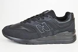 Кросівки New Balance чорні екокожа/нубук
