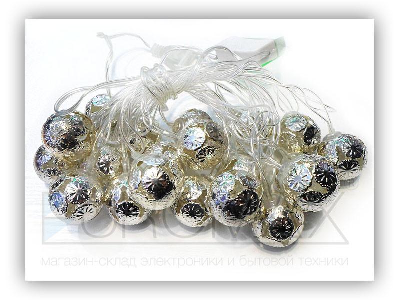 Гирлянда 20 шариков металл прозрачный провод (теплый белый) 100шт 20-METAL-3-WW