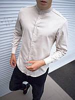 Мужская Рубашка Лен Бежевая