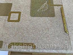 Мягкое стекло Скатерть с лазерным рисунком для мебели Soft Glass 1.6х0.8м толщина 1.5мм Золотистые квадраты, фото 2