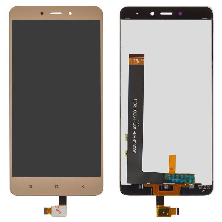 Дисплей (экран) для Xiaomi Redmi Note 4 с сенсором (тачскрином) золотистый