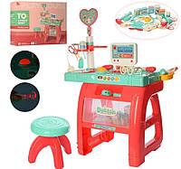 Детский игровой набор доктора со столом и стульчиком, медицинские инструменты, 660-62
