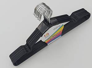Плечики металлические в силиконовом покрытии черного цвета, 40 см,10 штук в упаковке
