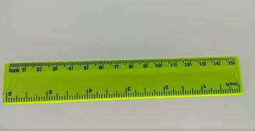 Линейка для черчения пластиковая 15 см Inch Желтая