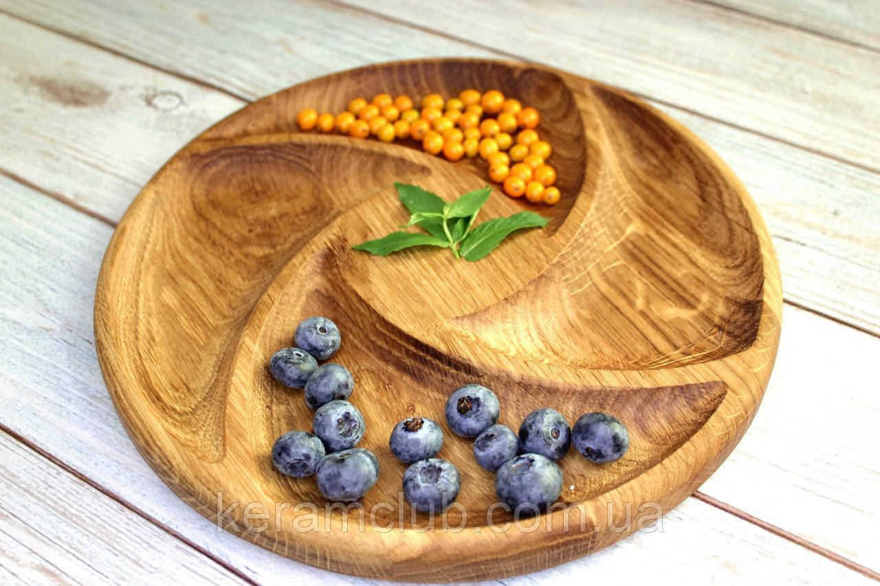 Деревянное блюдо Керамклуб 4 сегмента d 30 см