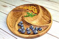 Деревянное блюдо Керамклуб 4 сегмента d 30 см, фото 1