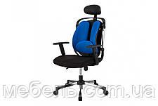 Кресло для врача Barsky ER-04 Ergonomic black, кресло из ткани, черный / синий, фото 3