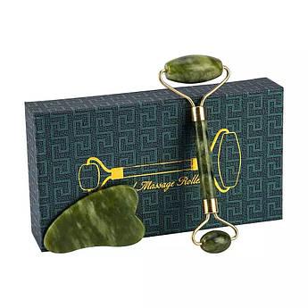 Скребок гуаша и массажный роллер из нефрита в коробочке