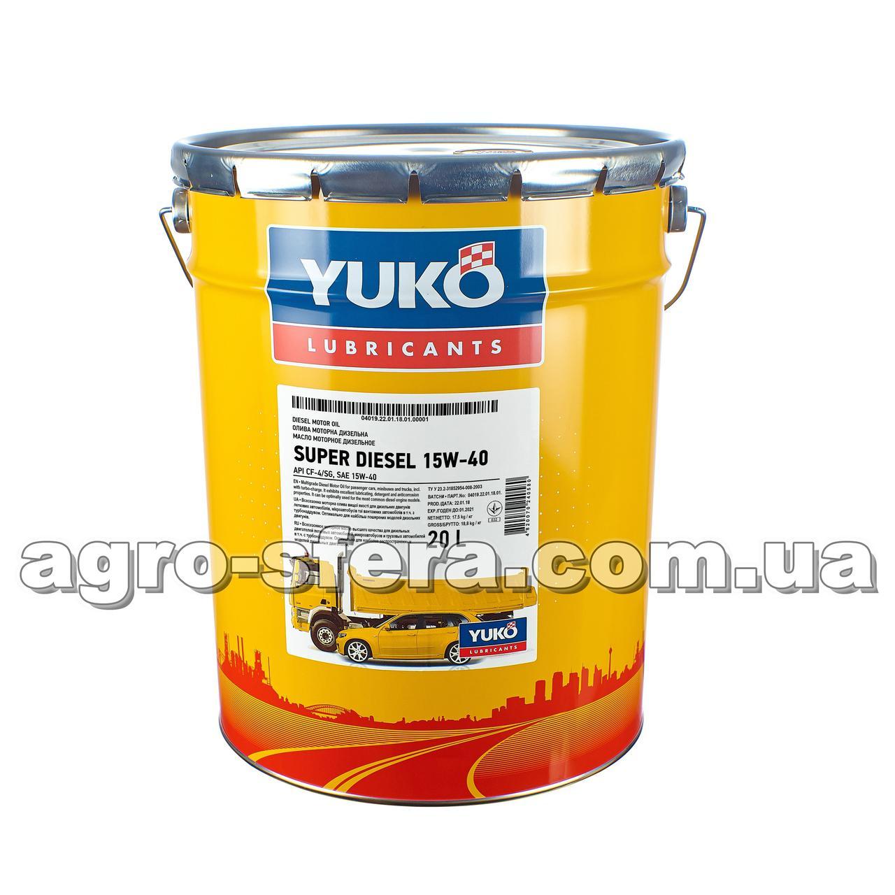 Масло моторное Юкойл SUPER DIESEL 15W-40 (20 л.) минеральное YUKO