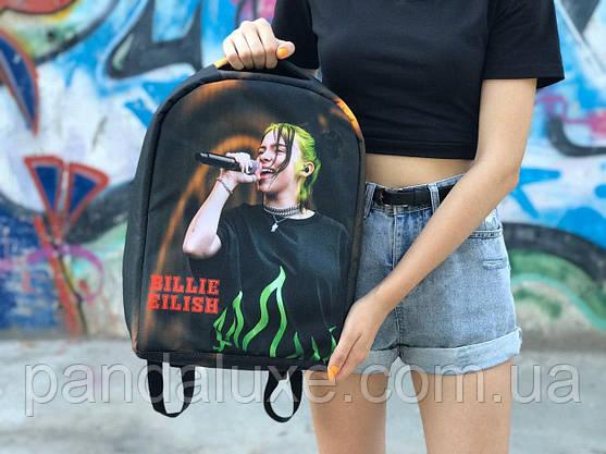 Рюкзак молодежный подростковый c ортопедической спинкой и принтом Bilie Eilish Билли Айлиш 41х30см, фото 2
