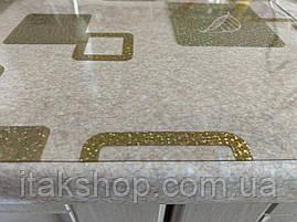 Мягкое стекло Скатерть с лазерным рисунком для мебели Soft Glass 2.3х0.8м толщина 1.5мм Золотистые квадраты, фото 2