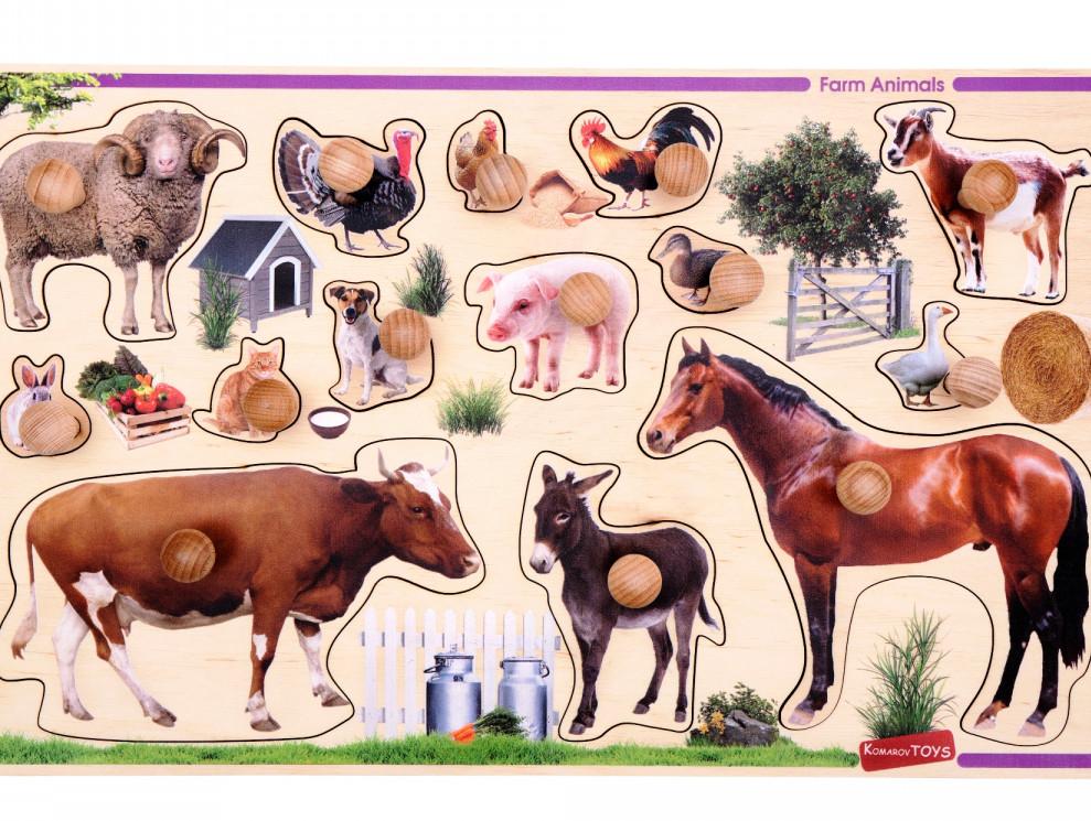 Большая Деревянная рамка-вкладыш с ручками и подслойным рисунком Домашние животные, Komarovtoys (Т 631)
