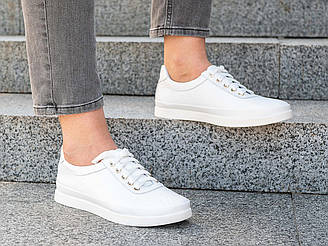 Кеды белые женские  кожаные  36-41 белый