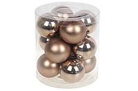 Набор елочных шаров 4см, цвет - карамельный мокко, 12 шт: глянец