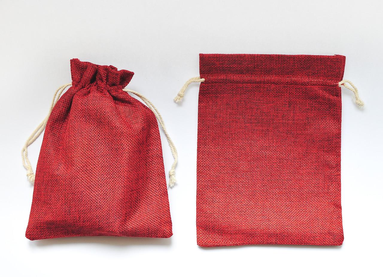 Мішечок для карт таро яскраво червоний, джут