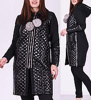 Женский зимний костюм тёплый с кардиганом пр-во Турция чёрный №8888